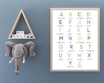 Children's Affirmation ABC | Alphabet Affirmation Wall art, Montessori Nursery print, alphabet print, affirmations for kids, nursery print