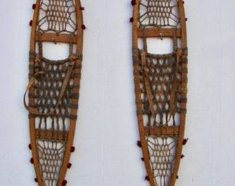 Fabulous Indian Child's Wooden Snowshoes 36x7 Incredible!!!!!