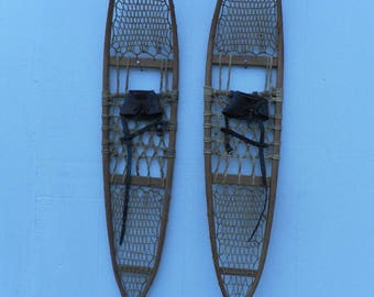 Antique Snocraft Norway Maine Pickerel Snowshoes, 56x10, Great Condition!!!
