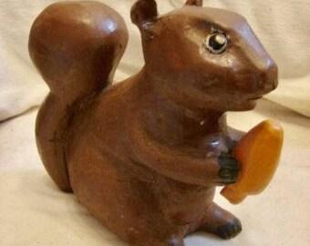 Canadian Folk Art Carved Squirrel