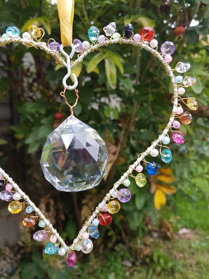 Pretty hanging heart suncatcher. Home decor sent with Reiki image 0
