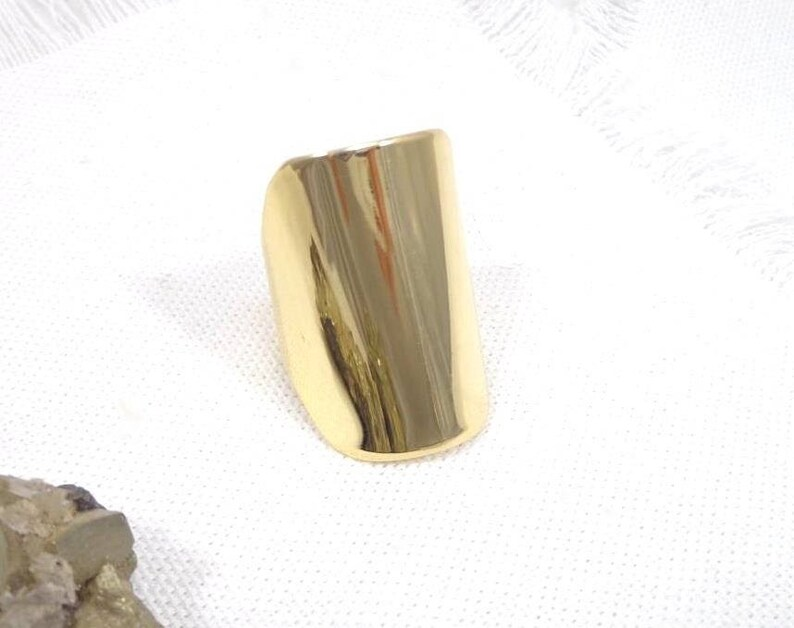 Long golden ring adjustable mirror ethnic ring and chic image 0