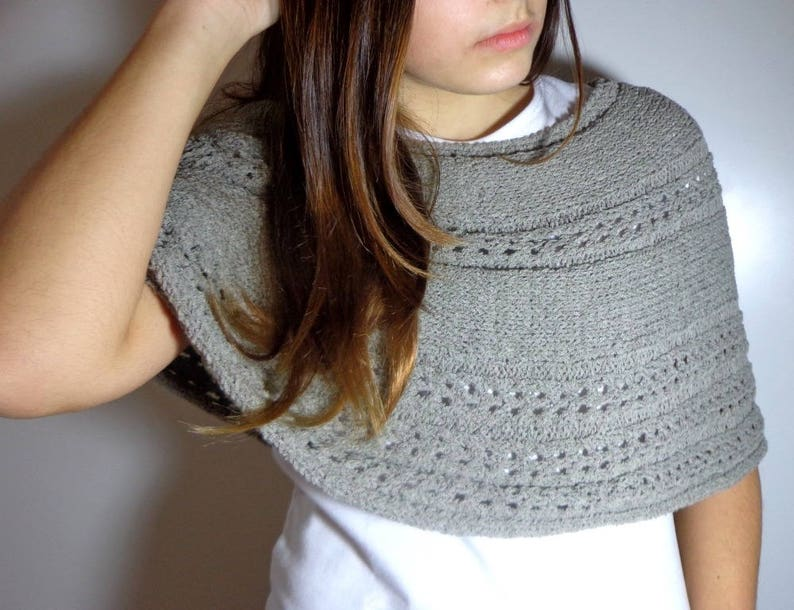 Taupe gray shawl hand knitted grey shoulder ceremony spring image 0