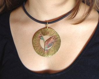 Big leaf necklace, hammered circle pendant, hammered copper necklace, handmade brass necklace, elvish leaf necklace, nature copper pendant