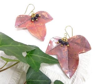 Ivy earrings, ivy leaf earrings, OOAK copper earrings, elvish earrings, fairy earrings, ivy jewelry, ivy romantic bride earrings, copper ivy