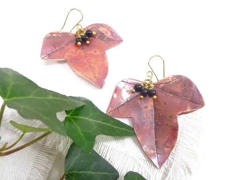 Ivy earrings ivy leaf earrings OOAK copper earrings elvish image 0