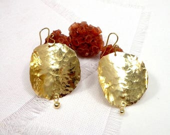 Large earrings hoops hammered brass, Indian style, Bohemian, ethnic, primitive by dream girl