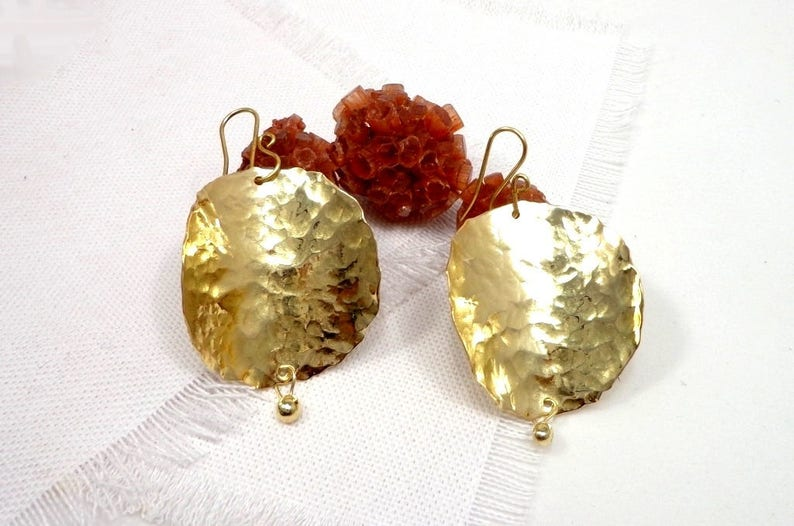 Large earrings hoops hammered brass Indian style Bohemian image 0