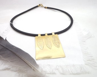 Feather etched brass necklace, statement gold tone choker, rectangle feather necklace, tribal feather pendant, statement tribal choker.