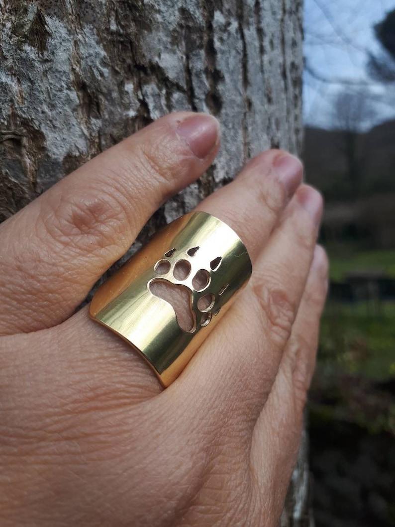 Bear paw ring paw statement ring animal ring big ring bear image 0