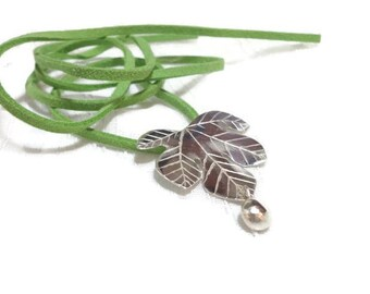 """Sterling Silver Pendant leaf fig tree """"Scent of Fig"""" original plant and nature inspired jewelry, romantic style."""