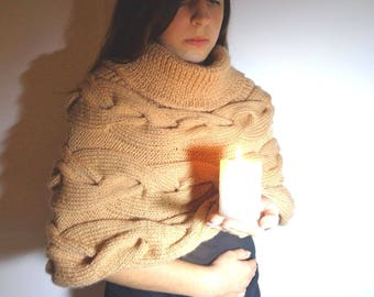 Beige poncho, large collar, camel Christmas gift, hand knitted cable poncho hand-made by dream