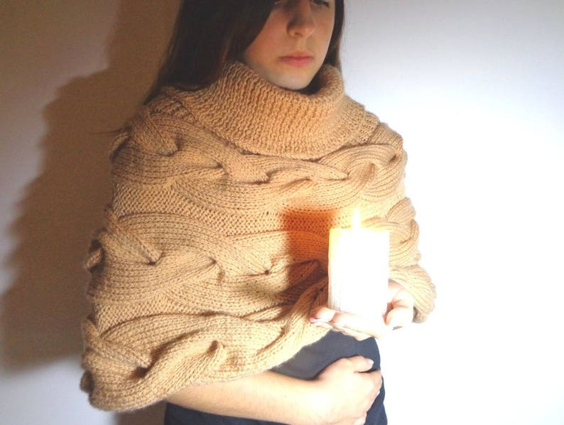 Beige poncho large collar camel poncho with hand knitted image 0