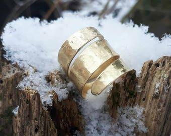 Hammered silver snake ring