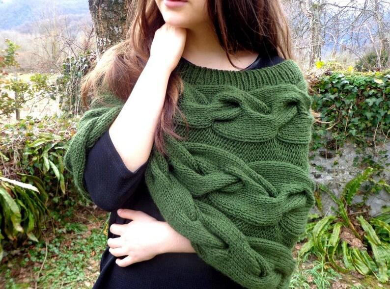 Green poncho khaki green poncho khaki capelet green shawl image 0
