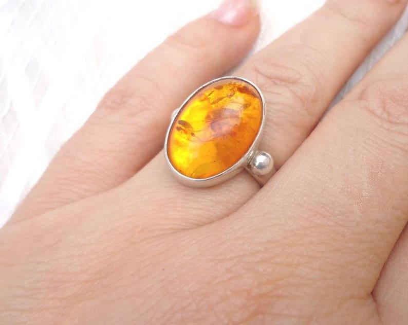 Sterling Silver ring and amber Solo amber image 0