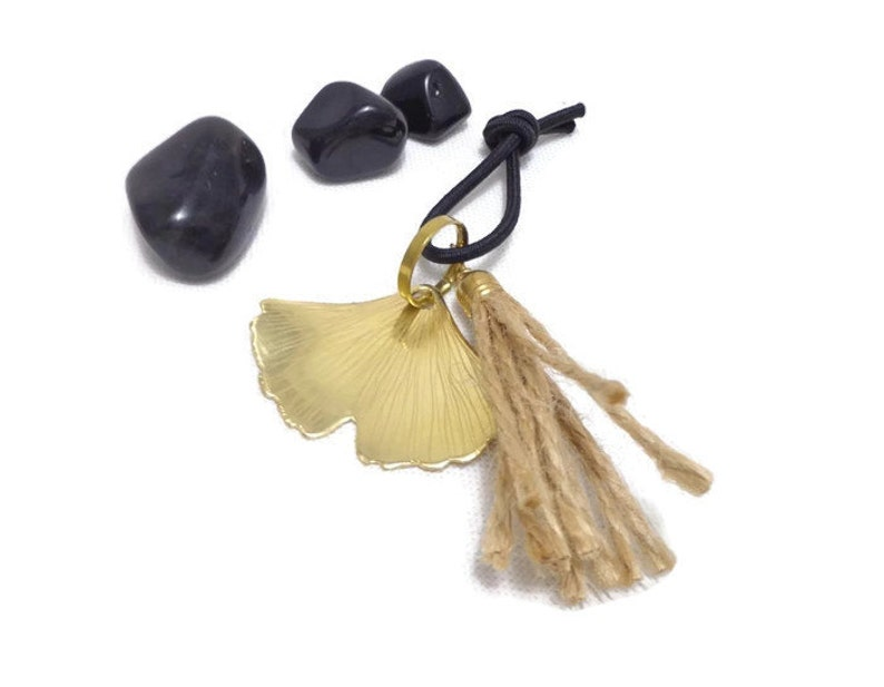 Ginkgo keychain ginkgo key holder ginkgo bag charm image 0