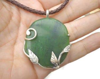 Jade pendant, leaf pendant, handmade pendant, romantic necklace, art nouveau necklace, sterling jewelry, botanical jewelry, tree pendant