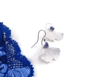 Little ginkgo earrings, OOAK sterling earrings, lapis earrings, leaf earrings, light earrings, maidenhair earrings, christmas gift