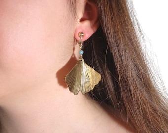 Clips leaf earrings, ginkgo clips  earrings, clips gemstone earrings, clips nature earrings, brass clips earrings, handmade clips earrings
