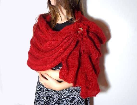 Etole rouge en dentelle de mohair châle rectangle rouge   Etsy e7f69c86b68