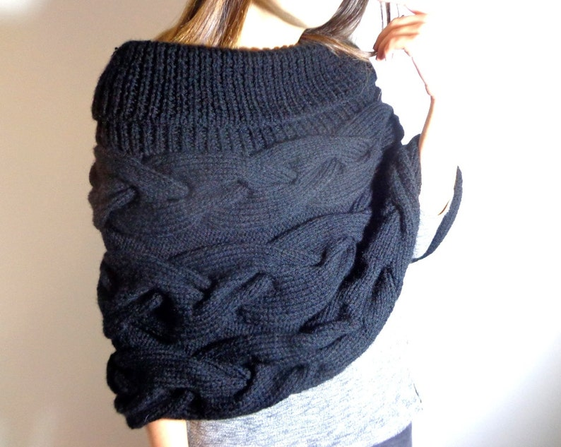 Black warm handmade poncho large cowl poncho black cabled image 0