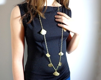 Ginkgo necklace, long chain leaf necklace, leaf golden necklace, long golden necklace, elvish necklace, bohemian necklace