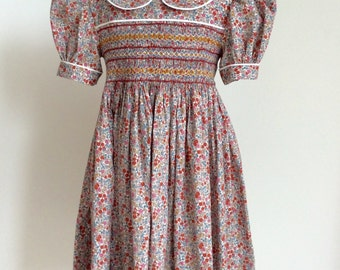 7a4ae3f1308 Girls Liberty print floral summer party dress. Age 4-5. Girls hand-smocked  dress.heirloom dress. Flower girl Liberty print dress.