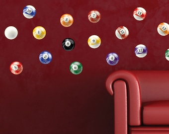 """6"""" inch Pool Ball Wall Stickers, Qty 16, Billiards Pool Ball Peel and Stick Wall Graphics, 0597, For smooth walls only"""