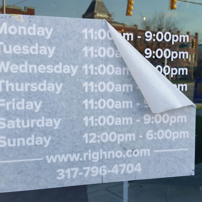 Custom Hours Decal Hours Of Operation Decal Custom Logo Decal Stickers You pick the font color 0105 image and size Custom
