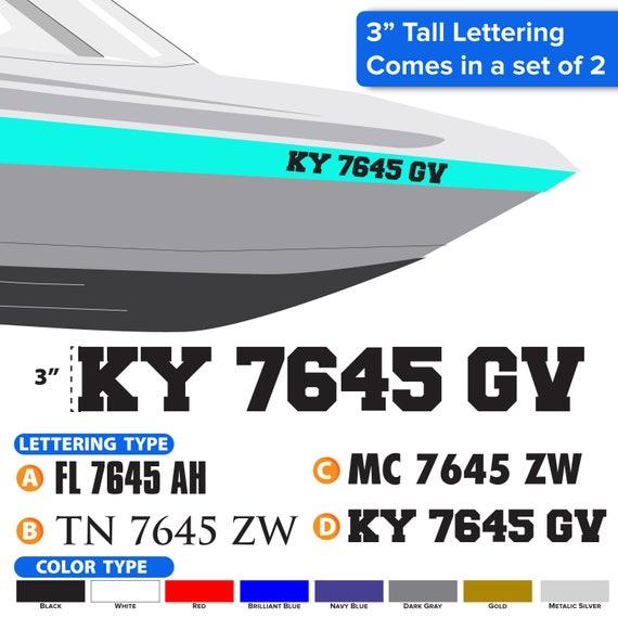 "Boat Registration Numbers Vinyl Decal Sticker Choose Font 3/""x 20/"" Set of 2"
