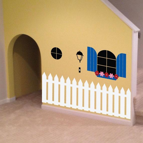 Indoor Playhouse Decal - 0088 - kids wall art - playroom decal - kids playroom decor - picket fence decal - childrens wall art