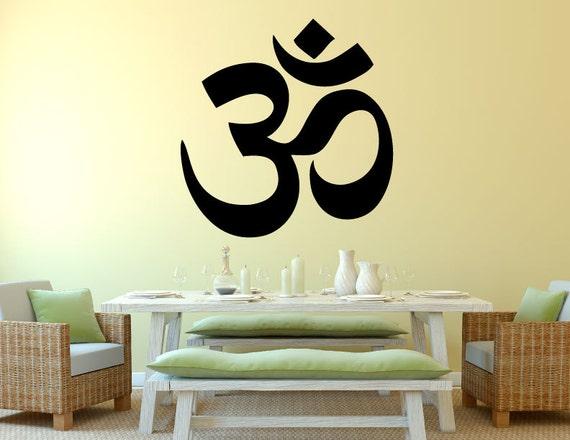 hindu om-wall decal 0051 yoga decal sanskrit wall decal | etsy