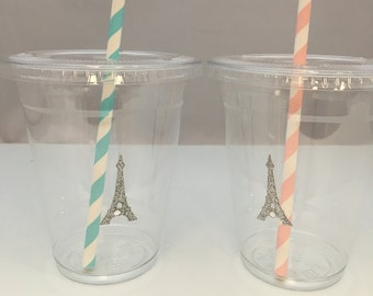 Eiffel Tower Plastic Cups with lids and straws: Paris Party Plastic Drink Cups with lids and straws