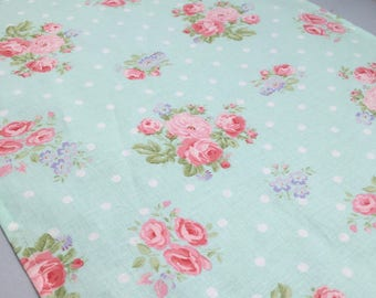 Floral Table Runner:  Blue and Pink Floral Accent Table Mat or Runner Ideal for a Vintage Tea Party or English Tea Party