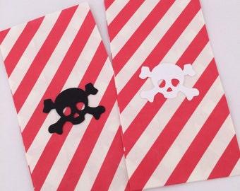 Pirate Skull Favor Bags - 6+ Pirate Party Treat Bags, Pirate Paper Goody Bag, Pirate Party Supplies, Pirate Loot Bag