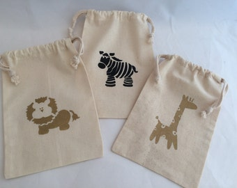 Jungle Babies Favor Bags: Muslin Bags With Safari Animal Designs; Safari Party hand painted drawstring bags