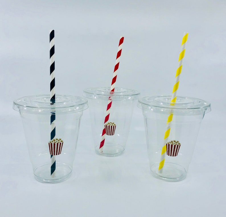 Oscar Party Cups Movie Night party cups Popcorn Party plastic cups with paper straws and lids