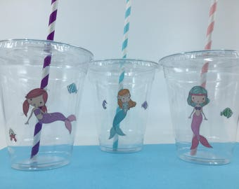 Mermaid Party Supplies: Mermaid Plastic Cups with Straws, Mermaid Party Cup, Mermaid Tableware