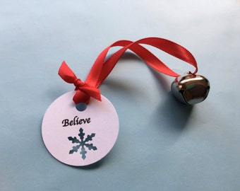 Polar Express Party Favor with Larger Bell: Polar Express Bell with Believe Tag, Christmas Believe, Class Christmas Favor, School Favor