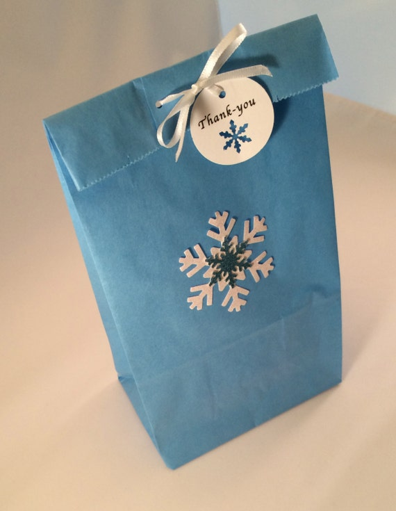 Thank You Blue Paper Cinderella Treat Bag Gift Bag Cinderella Favor Bag with Thank You Tag and Ribbon: 10+ Gold Butterfly Party Bag