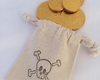 Pirate Party Favor Bags: Drawstring Pirate Party Bags, Muslin Pirate Goody Bags, Skull & Crossbone Treat Bags, Pirate Loot Bag