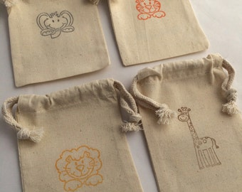 Jungle Animals Favor Bags: Muslin Bags With Safari Animal Designs; Safari Party drawstring bags