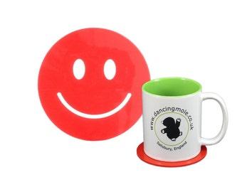 Smiley Face Emoji Coaster in Red