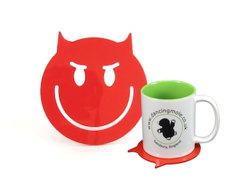 Wicked Smiley Face Emoji Coaster Red