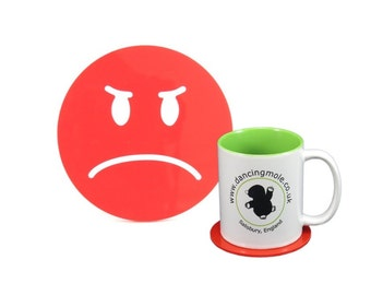 Grumpy Emoji Coaster Red