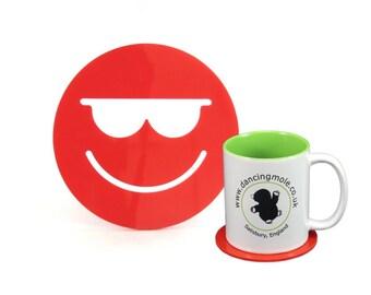 Hot Smiley Face Emoji Coaster Red