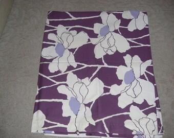 "2 pc.Screenprint Scotchgarded Cotton Purple floral Fabric 82"" x 54"" each"