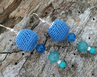 Boho blue earrings Crochet jewelry Ethnic style long earrings with howlite and agate beads