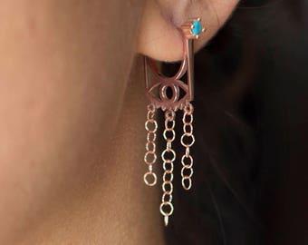 Statement Jewelry / Evil Eye Earrings / Boho Earrings / Turquoise Evil Eye Earrings